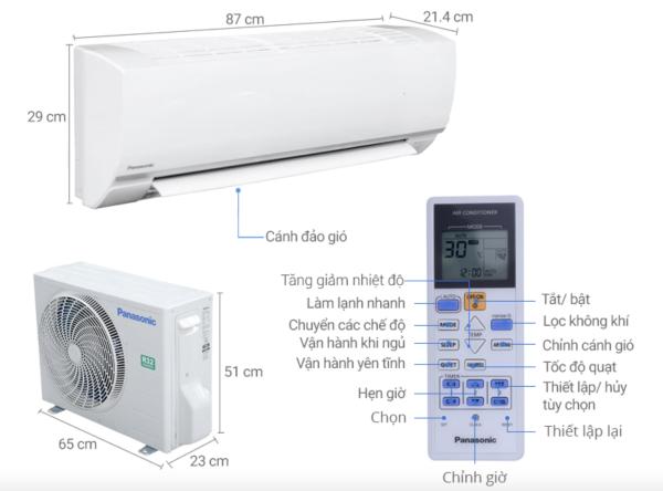 Máy lạnh Panasonic 1.0 HP CU/CS-N9SKH-8-Hàng Chính Hãng-Dòng Thường
