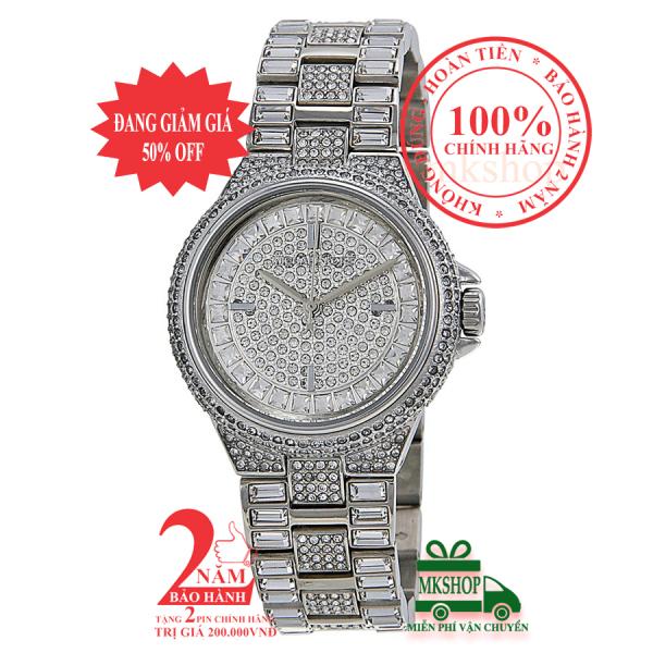 Đồng hồ nữ MK MK5947 - Vỏ, mặt và dây màu Bạc (Silver), mặt đồng hồ và viền nạm đá pha lê Swarovski, size 33mm