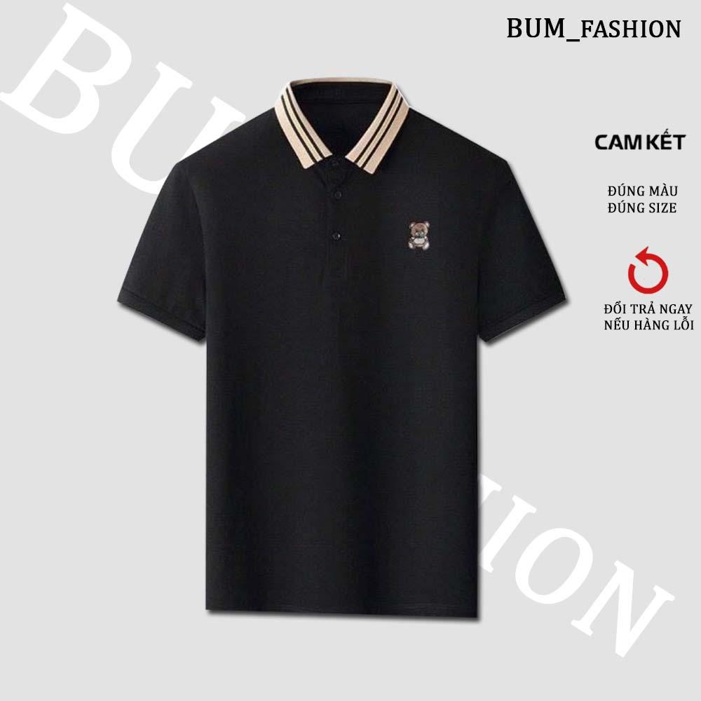 Áo Thun polo Nam Tay Ngắn có cổ Thêu Gấu vải Cotton dày Rẻ Đẹp - AC93 - Bum Fashion
