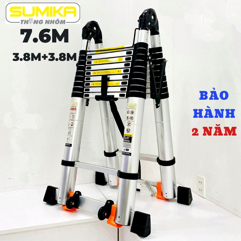 Thang nhôm rút đôi (Chữ A: 3,8m Chữ I:7,6m) Sumika SK760D- Nút cao su chống trượt, khóa chống rung lắc, 2x10 bậc, tải trọng 300kg, bảo hành 2 năm