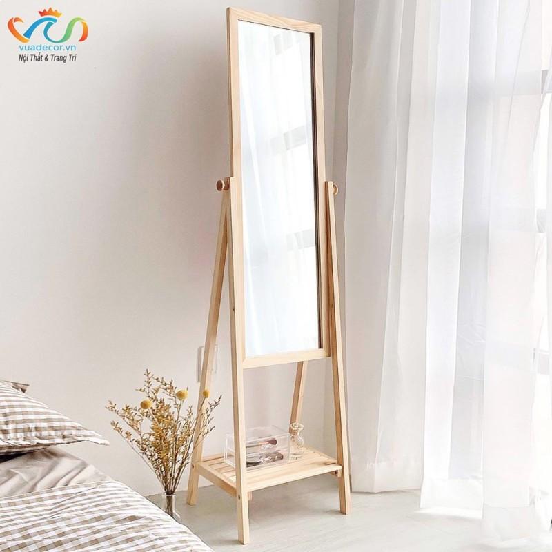Gương Kệ Soi Toàn Thân Khung Gỗ Vuadecor màu tự nhiên - Mirror Shelf Natural