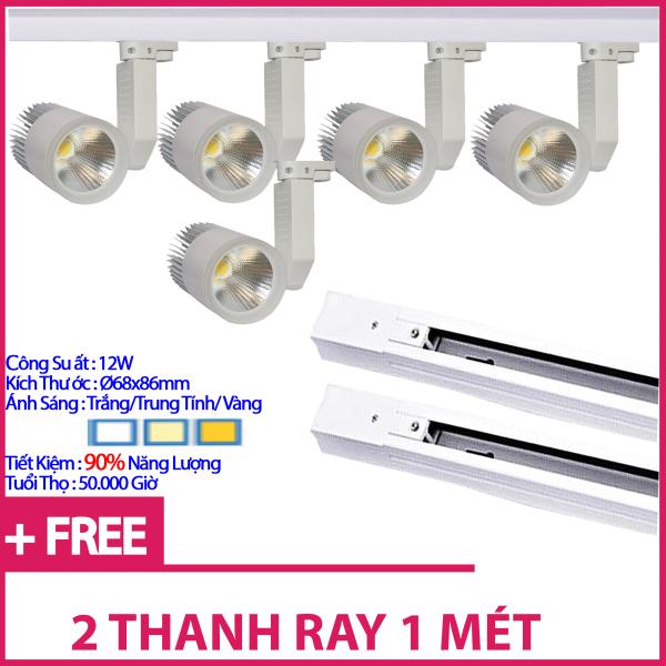 Bộ5 Đèn Led Rọi Ray COB 12w Vỏ Trắng Và 2 Thanh Ray 1 Mét