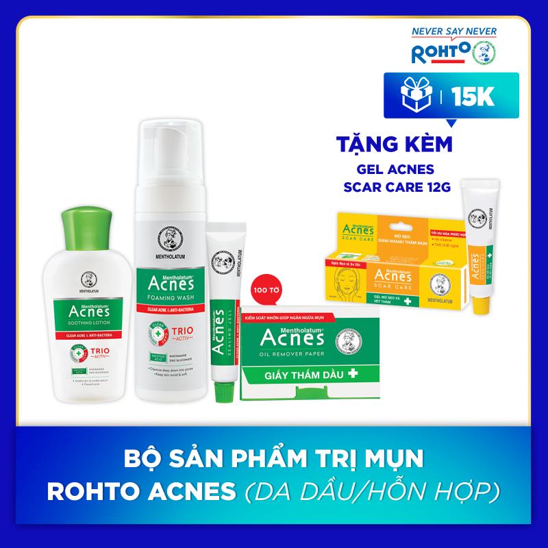 Bộ sản phẩm cho da mụn Rohto Acnes (da dầu/hỗn hợp) + Tặng 1 Gel mờ vết thâm, liền sẹo Acnes Scar Care 12g giá rẻ