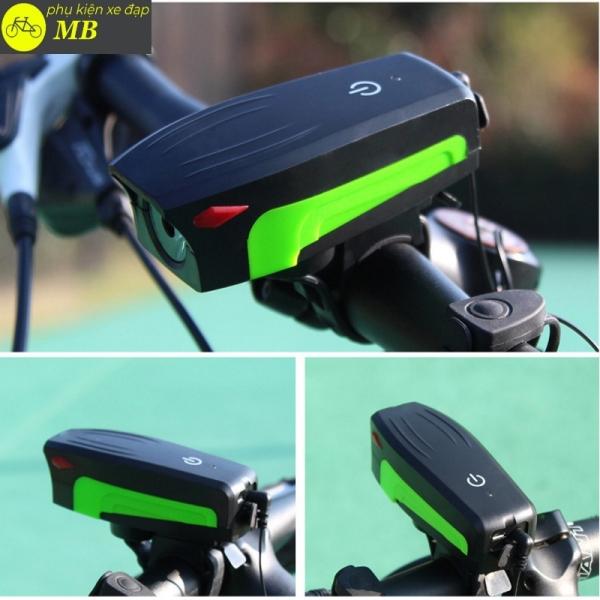 đèn còi xe đạp, đèn xe đạp siêu sáng tích hợp còi cao cấp nhiều màu sắc chống nước chống bụi AS0909