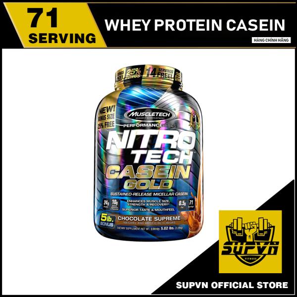 Nitrotech Casein Gold 5Lbs - Whey Protein Casein Nuôi Cơ Ban Đêm - Sữa tăng cơ hấp thu trải dài, chống dị hóa cơ