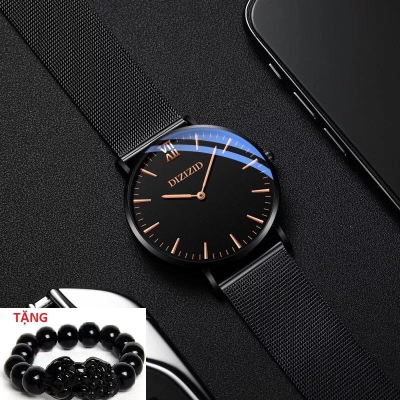 Đồng hồ nam dây thép lụa đen DIZIZID mặt siêu mỏng Original Design DZTV TẶNG vòng tỳ hưu thạch anh đen