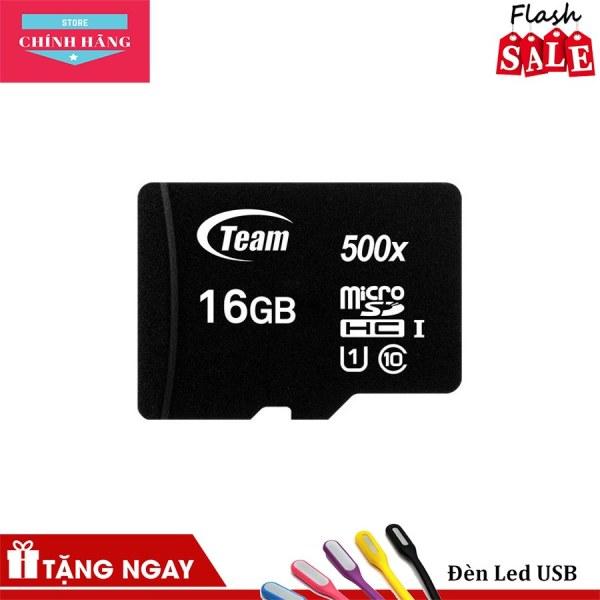 Thẻ nhớ micro SDHC Team 16GB class 10 (Đen) + Đầu đọc thẻ micro ngẫu nhiên - Bảo Hành 3 Năm