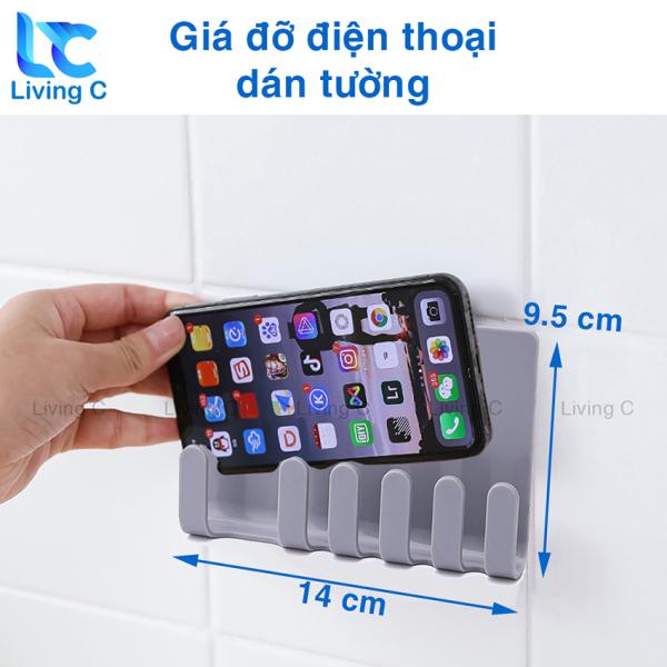 Giá đỡ điện thoại dán tường Living C, kệ đựng remote điều khiển có sẵn miếng dán tường MBC