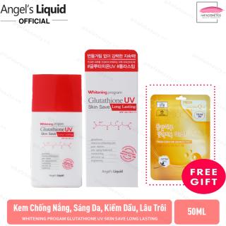 Kem Chống Nắng Dưỡng Sáng Da, Kiềm Dầu, Lâu Trôi Angel s Liquid Whitening Program Glutathione UV Skin Save Long Lasting SPF50+ PA+++ (50ml) +Tặng Kèm 1 Mặt Nạ 3W Clinic - HAFA STORE thumbnail