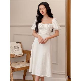 RECHIC Đầm Polana màu trắng cổ vuông tay phồng dáng dài nhún ngực nhẹ nhàng dễ thương thumbnail