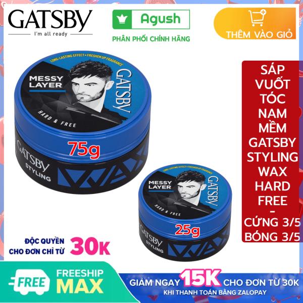 Sáp vuốt tóc nam thơm mềm Gatsby chính hãng Styling Wax Hard & Free giá rẻ giữ nếp tạo kiểu Messy Layer 25g, 75g vuốt tóc ngắn khô mùi thơm trái cây bóng tóc dạng sáp mềm gốc nước dễ rửa sạch nhập khẩu