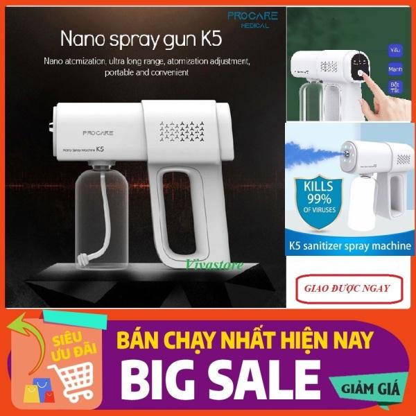 [CHÍNH HÃNG] [BH 1 ĐỔI 1 TRONG 7 NGÀY] -Máy phun sương nano Blu-ray K5 cầm tay thế hệ mới, Máy Tạo Sương Mù Không Dây, Sung K5 khử trùng diệt khuẩn có tia cực tím, Khử Trùng Nguyên Tử Hóa Sạc Được, Máy Phun Thuốc