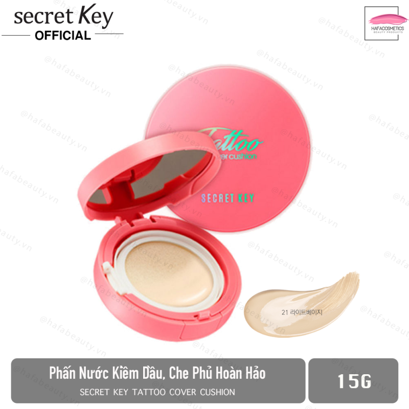 Phấn Nước Kiềm Dầu, Che Phủ Hoàn Hảo Secret Key Tattoo Cover Cushion SPF50+/PA+++ 15g