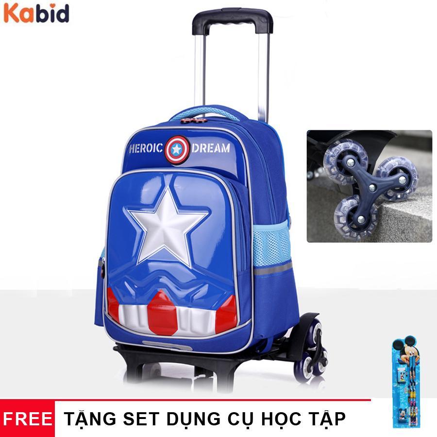 Giá bán Ba lô kéo 6 bánh Heroic Captain America chống nước và bụi bẩn - Dây cặp phản quang - Tặng dụng cụ học tập
