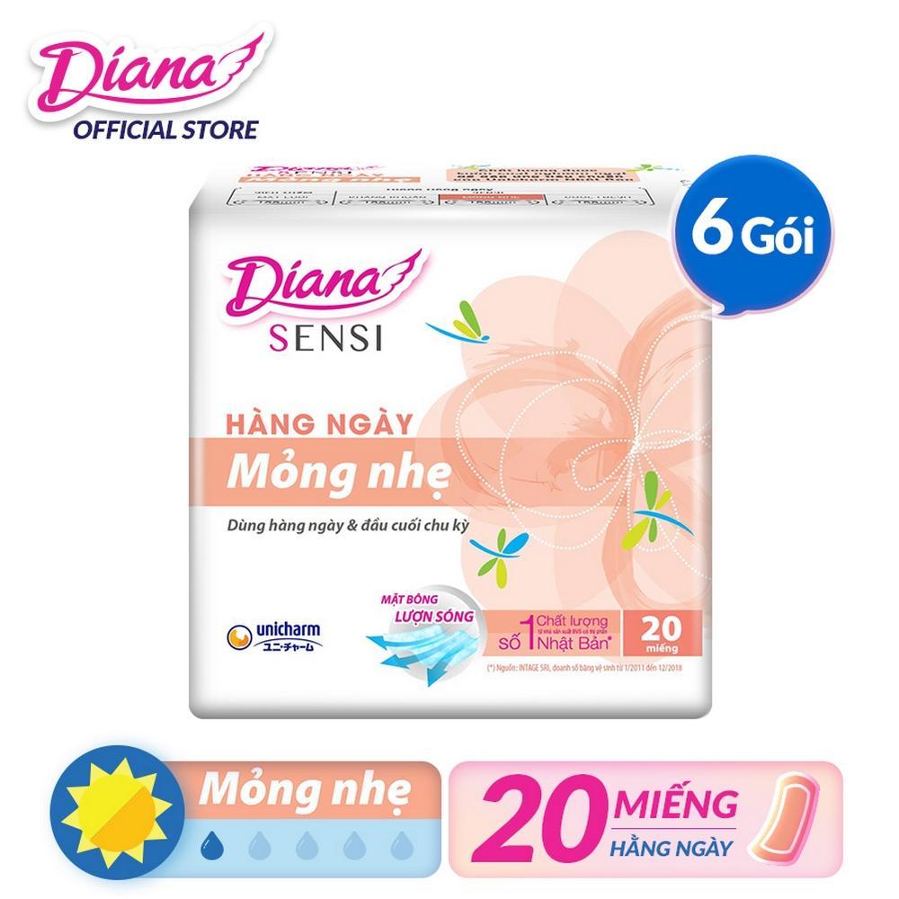 Bộ 6 gói Băng vệ sinh Diana hàng ngày Sensi Slim mỏng nhẹ gói 20 miếng cao cấp