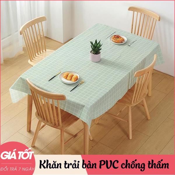 Khăn trải bàn chất liệu PVC chống thấm nước, không phai màu, trang trí bàn ăn cao cấp, tinh tế, sang trọng, hoạ tiết vintage caro cổ điển