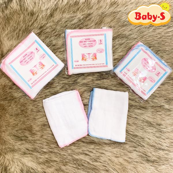 Khăn sữa cho bé Kiba siêu mềm siêu thấm 2 lớp, 3 lớp, 4 lớp kích thước 25x25cm – Set 10 khăn tiện lợi Baby-S – SKH005