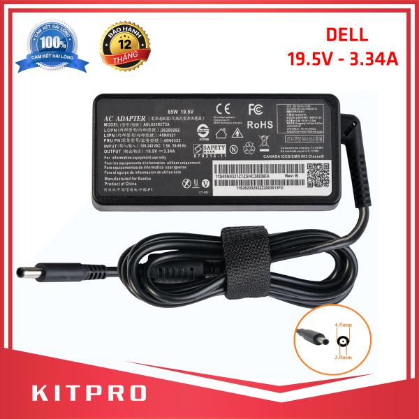 Bảng giá [HÀNG CAO CẤP] Cục sạc laptop DELL 19.5V 3.34A KITPRO BẢO HÀNH 12 THÁNG kích thước đầu ghim 4.5mm x 3.0mm đầu tròn nhỏ có kim ở giữa Phong Vũ