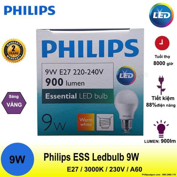 (Bộ 6 và bộ 2) Bóng đèn Philips Ess Ledbulb 9W E27 6500/3000K 230V A60 Ánh sáng( trắng/hoặc vàng)