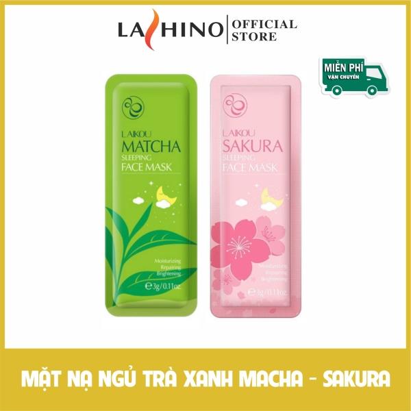 Mặt nạ ngủ laikou trà xanh macha - sakura gói 3g ngừa mụn làn da căn mịn nhập khẩu