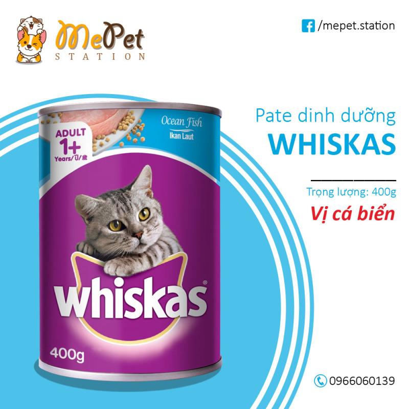 Pate Whiskas Cho Mèo | Vị cá thu, cá biển | Lon 400 gr | WHISKAS