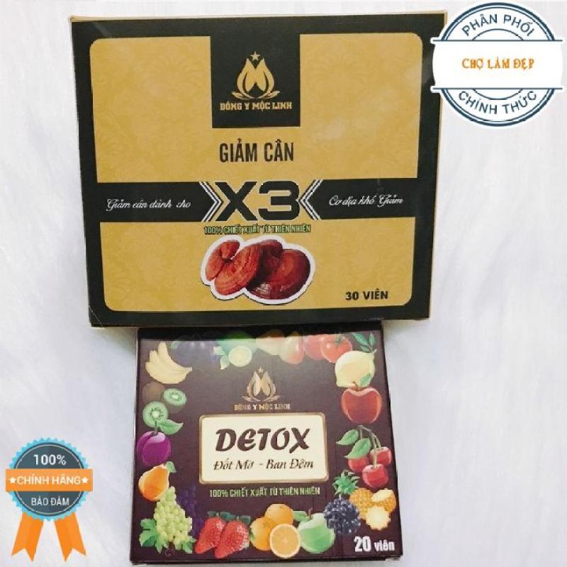 (Hàng công ty, giá sỉ) Giảm cân X3 Đông Y Mộc Linh dành cho cơ địa khó giảm - Tặng kèm 20v detox ban đêm nhập khẩu