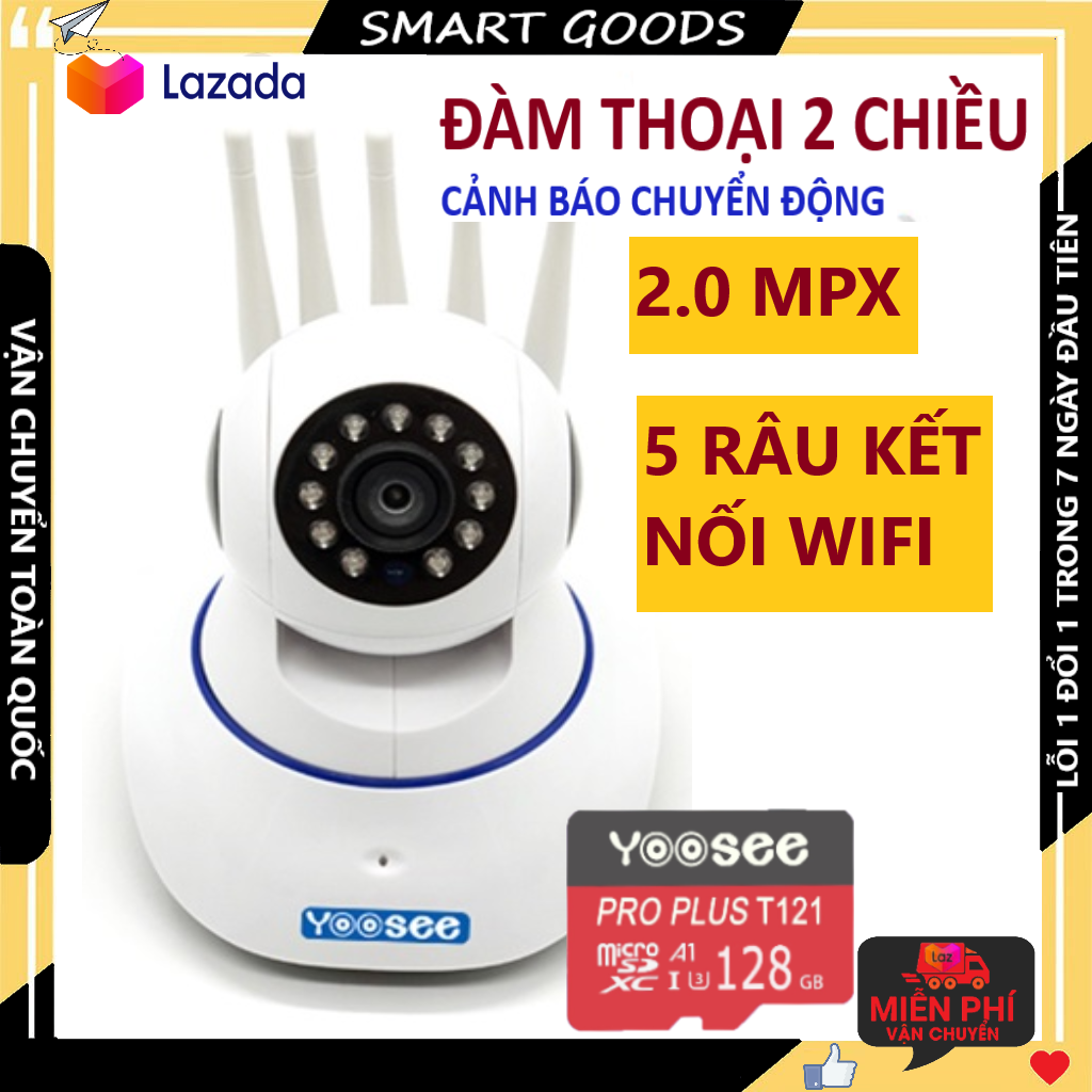 Camera Camera wifi Camera yoosee 5 râu kèm thẻ nhớ 128gb hiển thị 2.0 mpx cảnh báo chuyển động, có tiếng việt, kết nối dễ dàng bảo hành 3 năm 1 đổi 1 trong 7 ngày