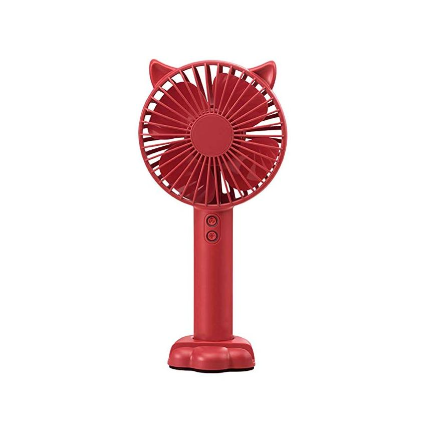 [Tặng kèm giá đỡ điện thoại] Quạt mini cầm tay tiện dụng handy fan 3 tốc độ gió tai mèo cao cấp có đèn