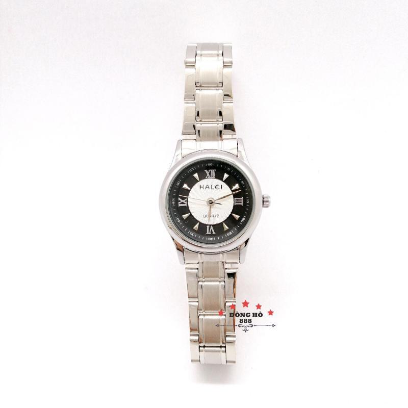 Đồng hồ nữ HALEI dây kim loại thời thượng ( HL489 dây trắng mặt đen ) - TẶNG 1 vòng tỳ hưu phong thuỷ