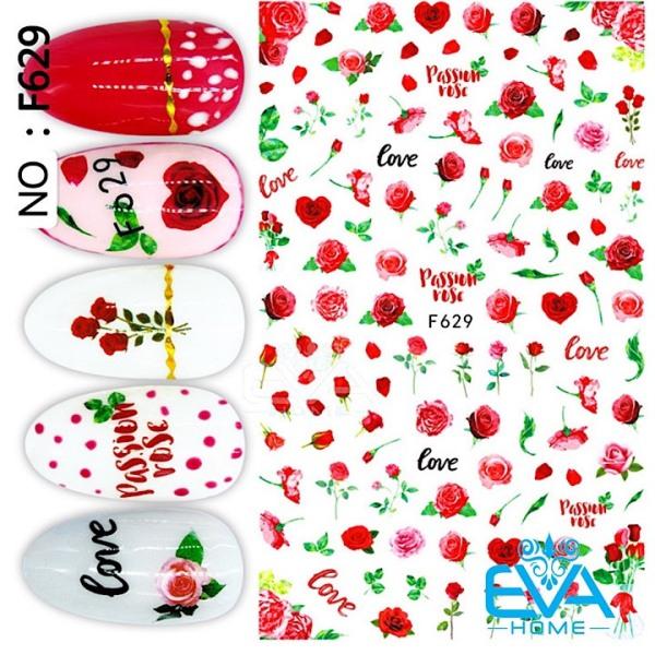 Miếng Dán Móng Tay 3D Nail Sticker Tráng Trí Hoạ Tiết Hoa Hồng Passion Rose F629 giá rẻ