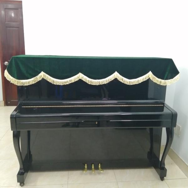 KHĂN PHỦ TRẢI ĐÀN PIANO CƠ NHUNG MÀU XANH RÊU TUA RUA VÀNG ÓNG