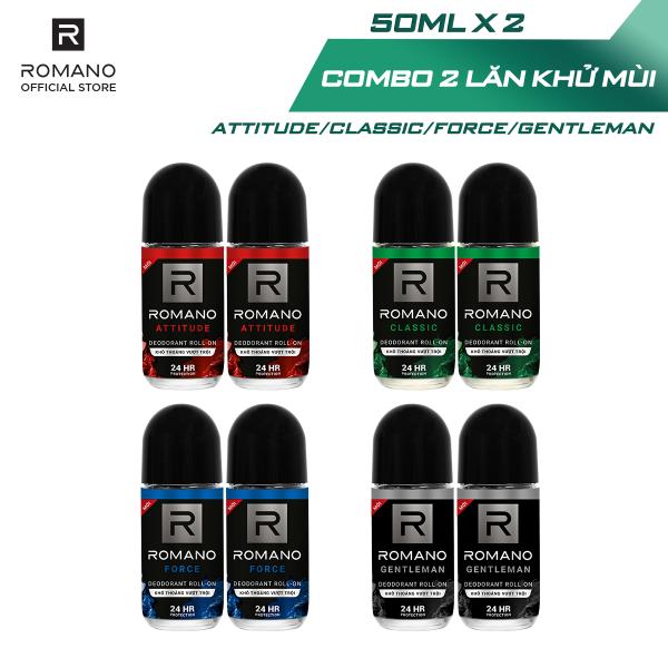 Combo 2 Lăn khử mùi Romano kháng khuẩn & khô thoáng cả ngày 50mlx2