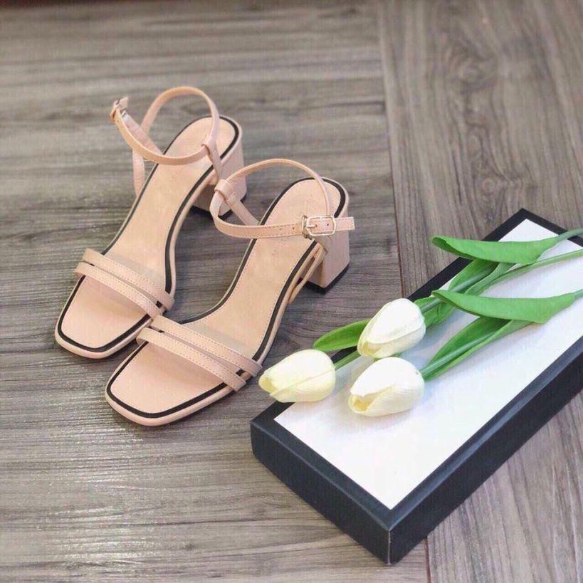 Sandal cao gót nữ 2 quai mảnh gót vuông 6cm dáng hàn quốc - 156 giá rẻ