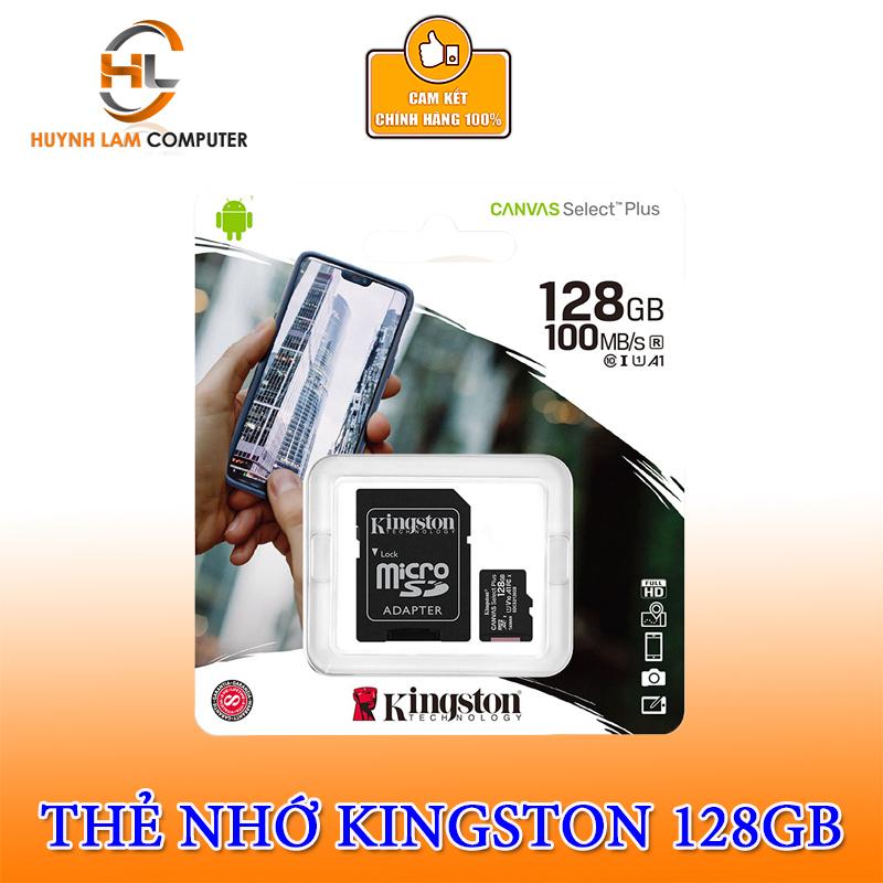Thẻ nhớ 128GB Kingston Micro SDHC CANVAS Select Plus 100MB/s Chính hãng FPT Phân Phối