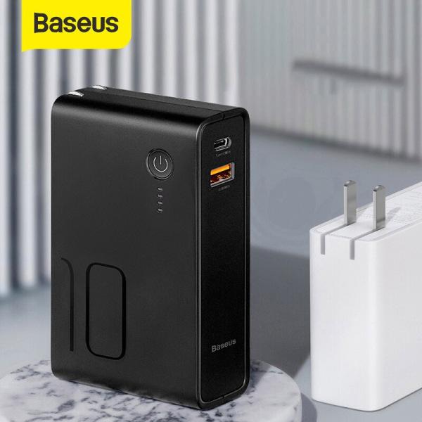 Pin dự phòng Baseus, tích hợp chân sạc dung lượng  10000mAh chuẩn PD3.0, QC3.0 công suất 18W cho điện thoại iPhone, Android