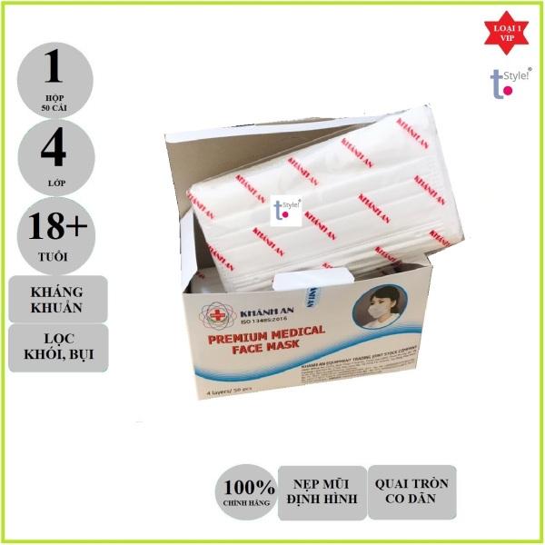 [SẴN HÀNG] Khẩu trang y tế Khánh An loại kháng khuẩn 4 lớp màu trắng