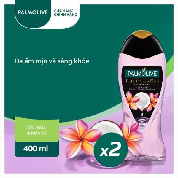 Bộ 2 sữa tắm tinh dầu Palmolive Luminous Oils thiên nhiên từ dừa và hoa sứ trắng 400ml/ chai giá rẻ