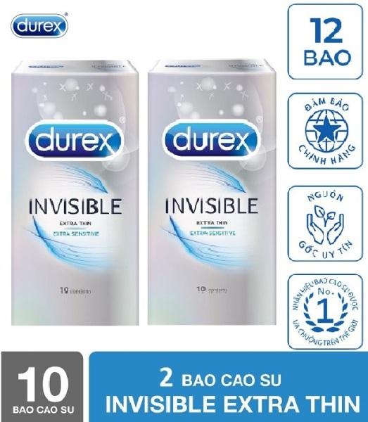 [ COMBO 2 Hộp ]Bao Cao Su Durex Invisible Extra Thin cực siêu mỏng Hộp 10 Chiếc [che tên người mua] - cao cấp