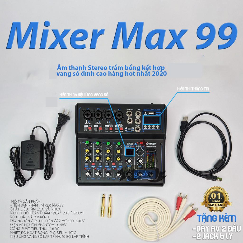 Bộ Khuếch Đại Âm Thanh, Mixer Kết Hợp Vang Số Max99, Bộ Mixer MAX 99, Mixer Yamaha Max 99 USB bluetooth 16 chế độ vang karaoke gia đình, livestream fb, Mixer G8 Tích hợp vang số
