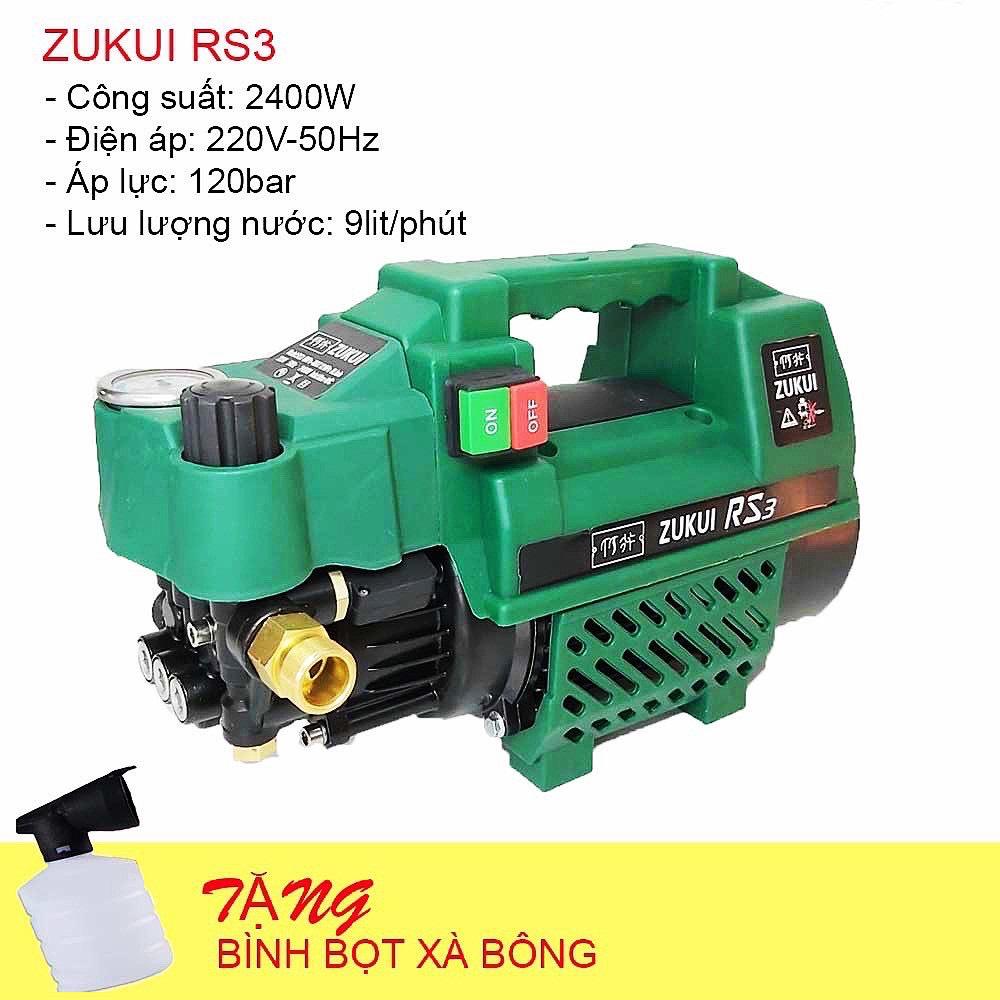 Máy rửa xe chỉnh áp Zukui RS3- máy rửa máy lạnh 2400w (Tặng bình xà phòng)
