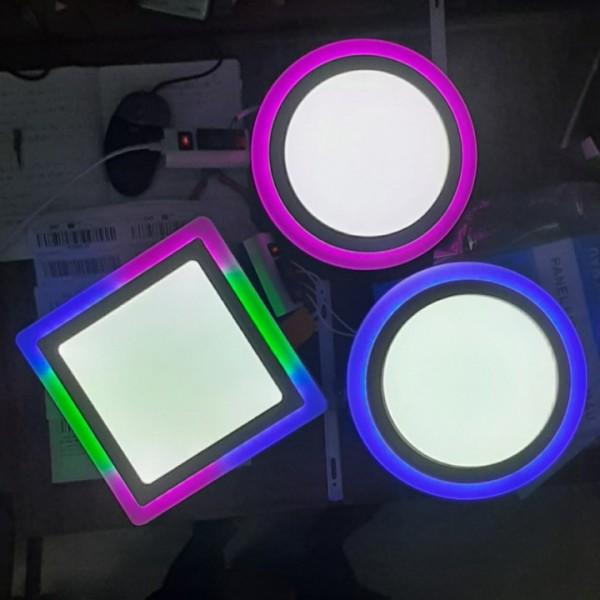 Đèn ốp trần tròn viền màu 18+6W Đèn ốp nổi trần nhà viền màu hồng và xanh dương