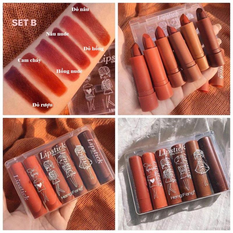 [ Có đủ 2 Tone ] Set 6 son thỏi Mịn Môi  HengFang Lipstick Siiky Vivid Color nội địa Trung No.H134 cao cấp