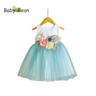Đầm Voan Dự Tiệc Cao Cấp Hoa Nổi 3D bé gái BabyBean (12kg-35kg)