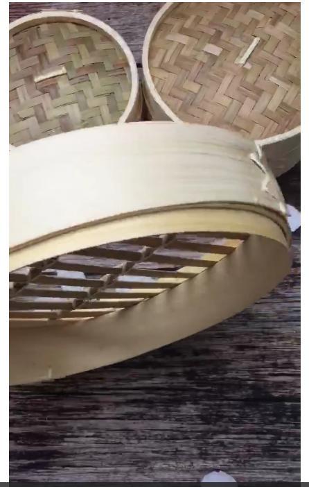 Combo lồng tre hấp bánh bao, há cảo gồm 3 đáy và 1 nắp đường kính 25 cm