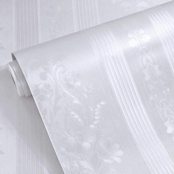 10 mét giấy dán tường vân nổi có keo sẵn khổ rộng 45cm - mẫu hoa văn sọc trắng cổ điển, hồng cổ điển.