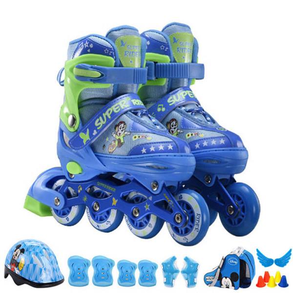 Mua Giày patin trẻ em cao cấp SuperRider bánh xe PU đặc trượt êm và mượt giầy patin vận động giải trí chất lượng cao có đèn led cả 8 bánh 2 màu xanh hồng -Tặng balo đựng giày, đồ bảo hộ 7 món và phụ kiện chơi