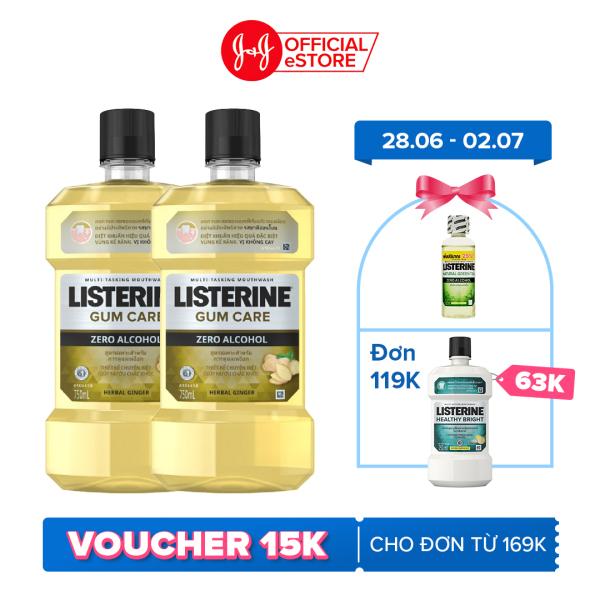 Bộ 2 Chai Nước súc miệng giúp nướu chắc khỏe Listerine Gum Care 750ml/chai giá rẻ