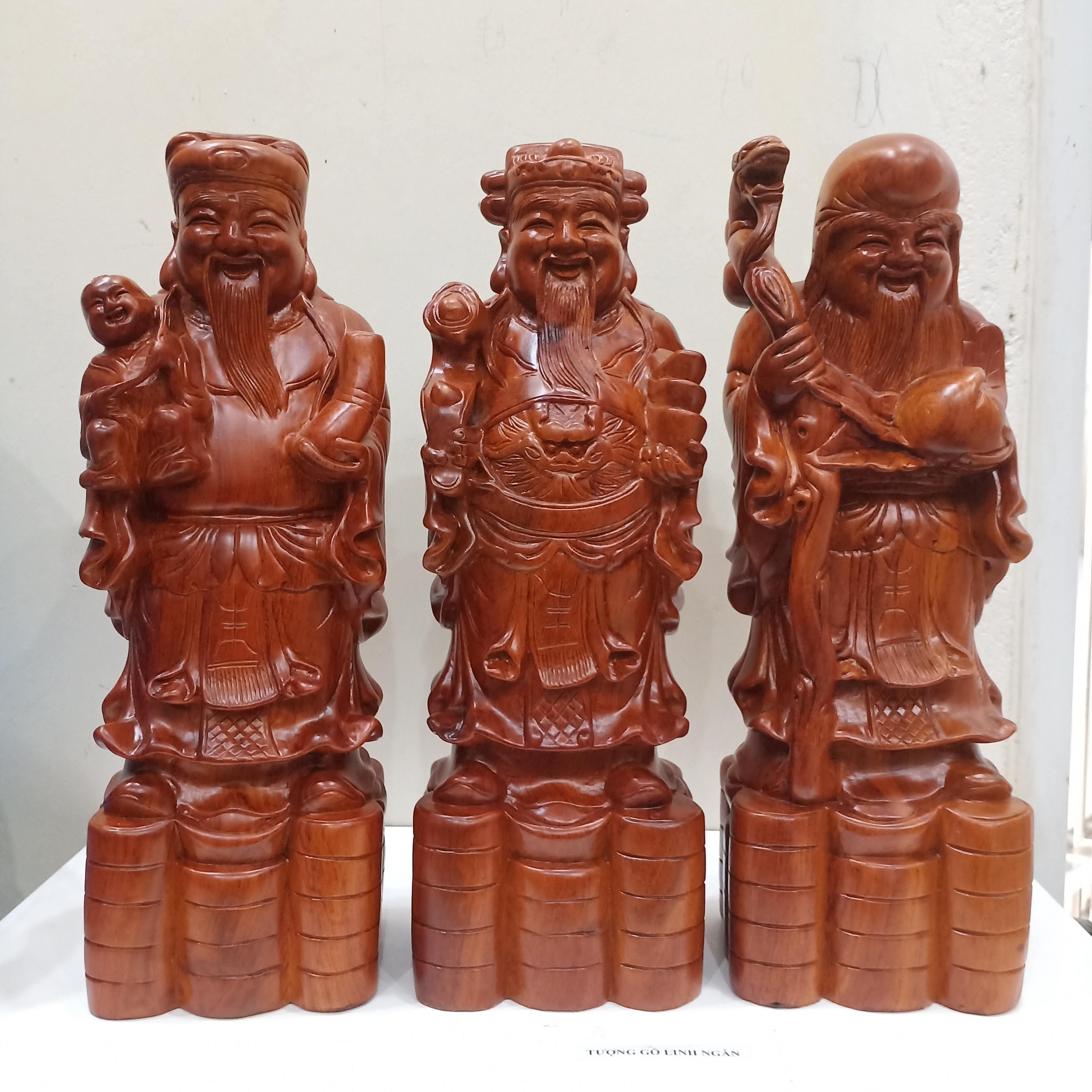Bộ Tượng Phúc Lộc Thọ - Tam đa Gỗ Hương (cao 40 Cm, Mẫu đầu To) Siêu Khuyến Mãi