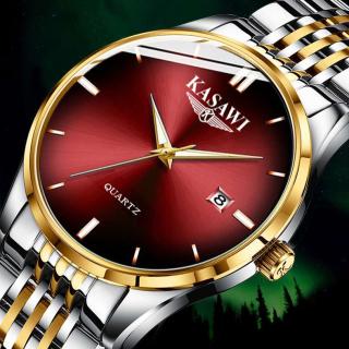 Đồng hồ nam KASAWI K8899 - Đồng hồ đeo tay đồng hồ kim dây hợp kim thép cao cấp, Đồng hồ lịch ngày sang trọng , không thấm nước xu hướng thời trang 2020 đầy nam tính cho các bạn nam thumbnail