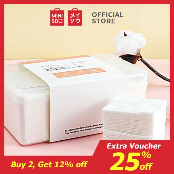 Bộ bông tẩy trang Miniso bong tay trang 1000 miếng bong tẩy trang cotton pad (Trắng) nhập khẩu